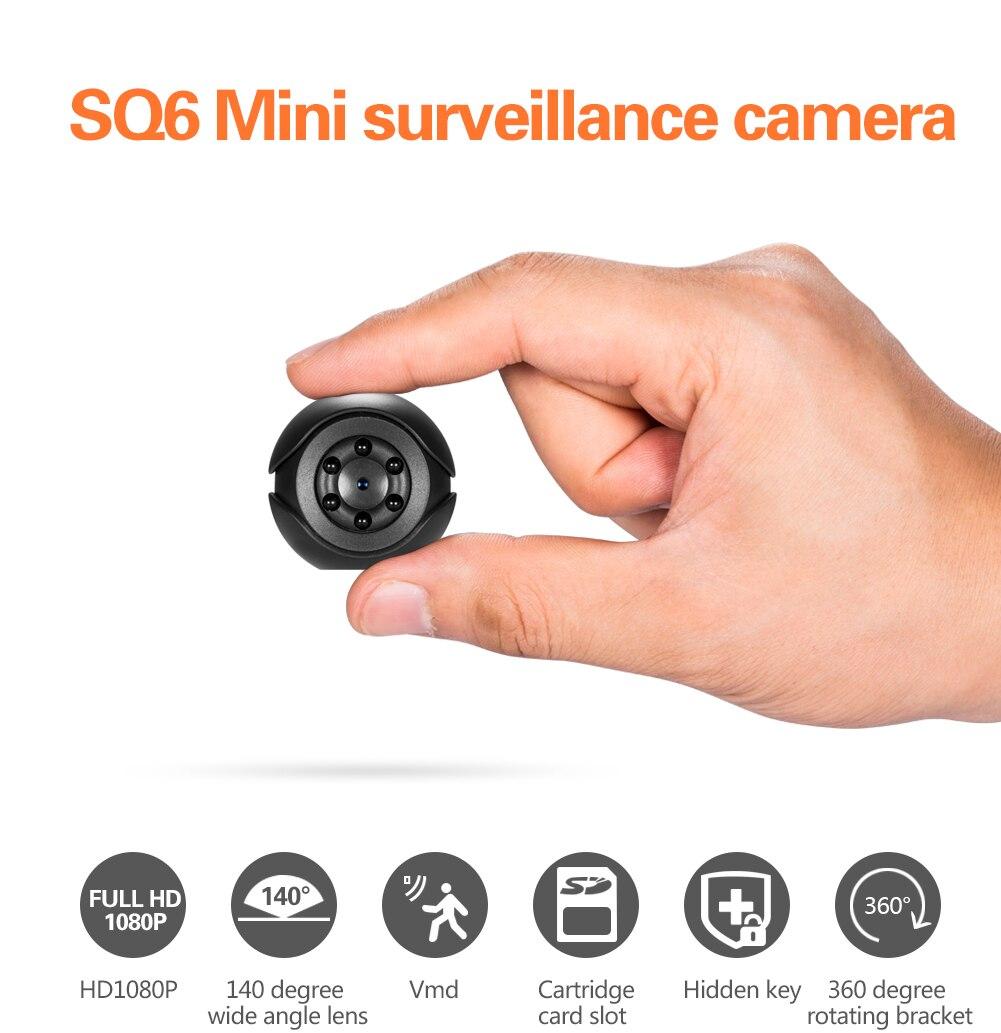 SQ6 Full HD 1080 p Mini Esporte Camera Night Vision Sensor de Movimento Camcorder Desporto DVR Vídeo Gravador de Voz Micro Babá cam segredo