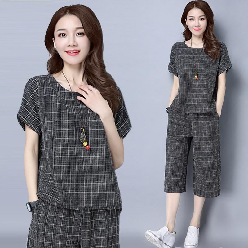 P23 m-4xl traje de la nueva moda Primavera algodón plaid Lino top + Pantalones de pierna ancha conjunto de ropa de dos piezas traje de talla grande