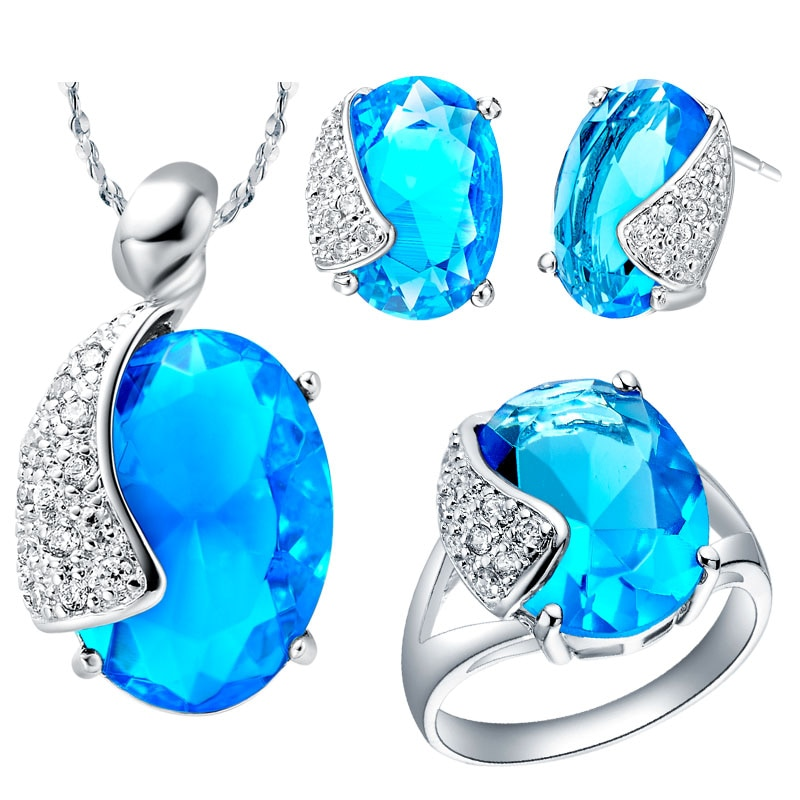 Mulher de Prata Banhado Casamento Conjuntos de Jóias de Rubi de luxo Austríaca de Cristal Conjunto De Jóias De Cristal CZ Diamante Zircon Bijouterie T061