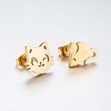 Hfarich Fashion Multiple Color Classic Fashion Kitten Animal Jewelry Cute Cat and Mouse Stud Earring