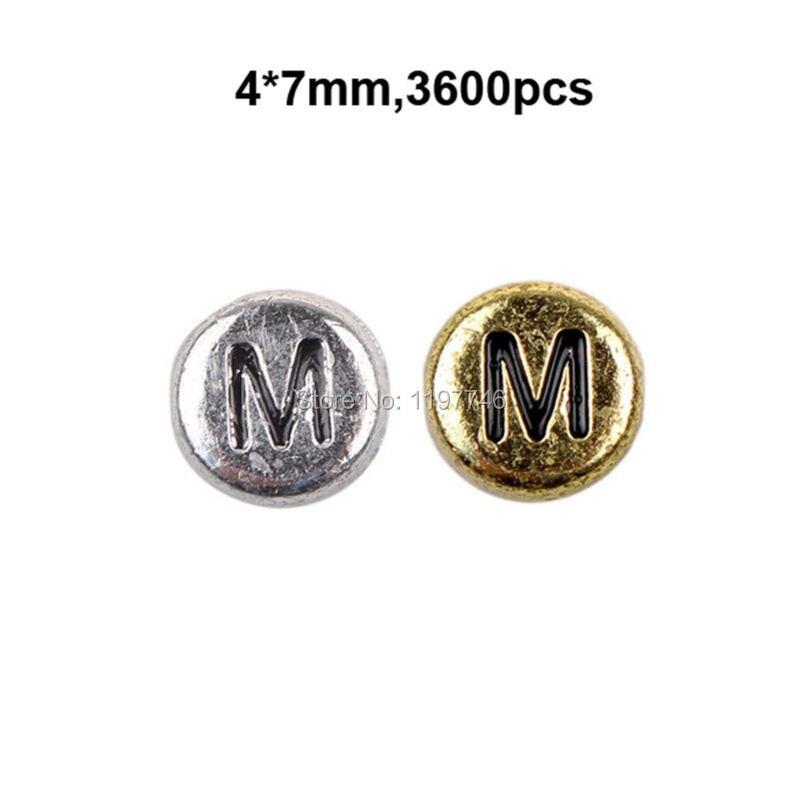 Cuentas de alfabeto único M acrílico plata antigua o letras doradas planas redondas 3600 Uds 7x4mm taladro lateral suministro para manualidades Cuentas de letras