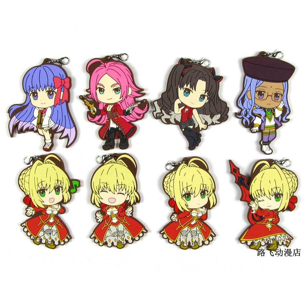 El destino/último bis Saber Nero Tohsaka Rin Drake Matou Sakura figura de acción del Anime de goma modelo llavero regalos colgantes 6cm