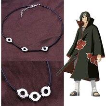 Anime Naruto Akatsuki Uchiha collar de Itachi colgante de acero de titanio Cosplay
