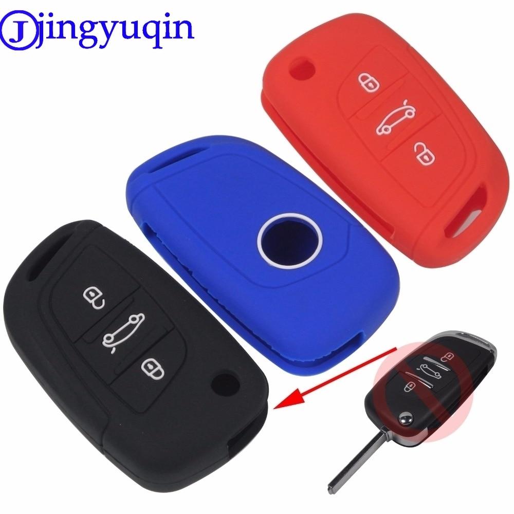 Jingyuqin 3 botones de silicona de estilo remoto coche plegable Flid cubierta de la llave para PEUGEOT 207 307 308 para Citroen C2 C3 C4 C5 C6 C8