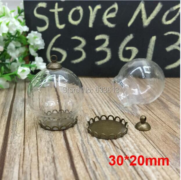 Free ship! 50sets/lot bronze color 30*20mm glass globe & lace base & 8mm cap set glass globe set glass vial pendant glass cover
