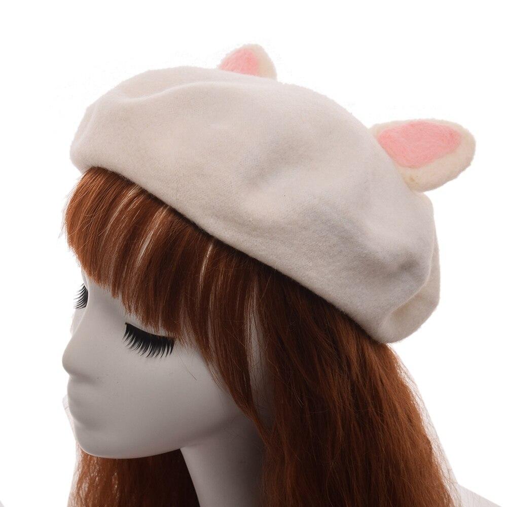Boina bonita Rosa hecha a mano para mujer sombrero oreja de gato gorro de lana