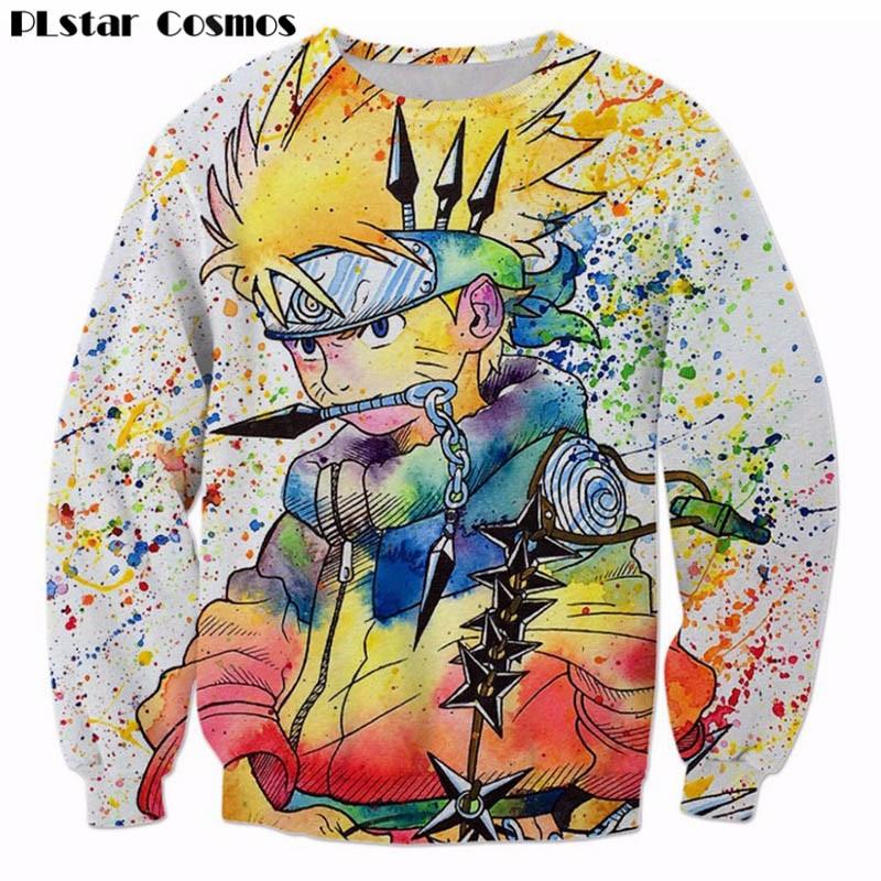 Sudadera 3D con pintura arcoíris PLstar universo Naruto para hombre jerseys de Anime Ninja Harajuku Hip Hop prendas de vestir exteriores Galaxy sudaderas