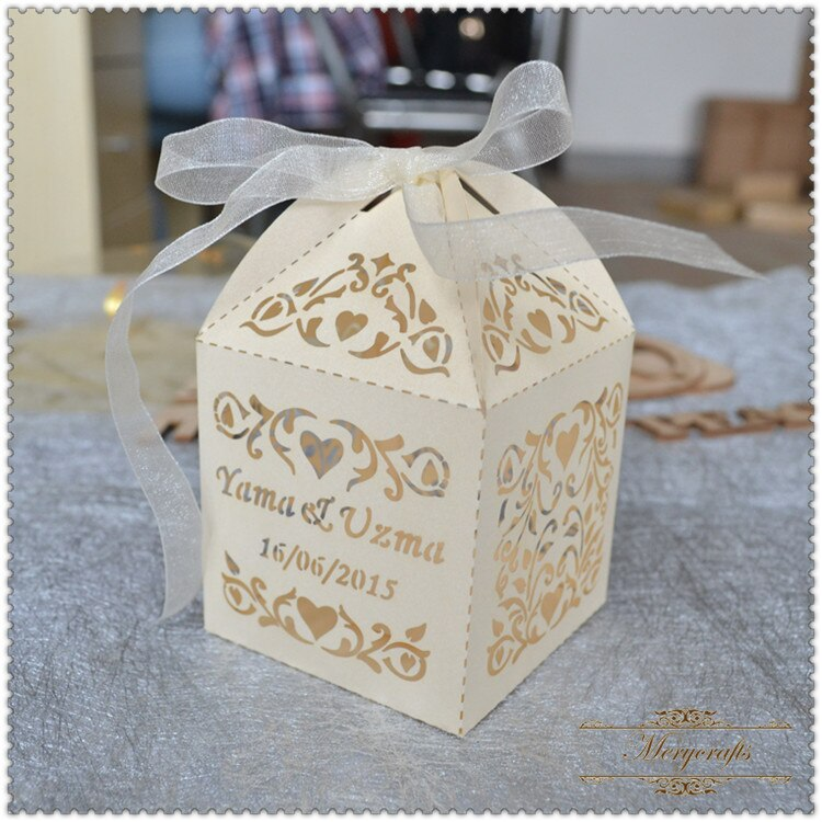 2017 laser cur best sell perla papel boda decorativo cajas de cupcakes a granel