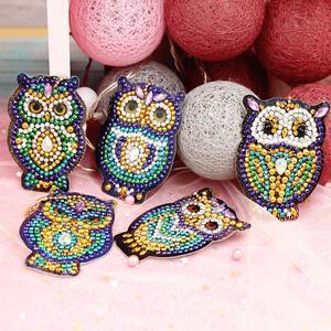 5Pcs Cute Cartoon Owl Daimond Painting Keyring DIY Drill Diamond Decoration Keychain for Girls Women Handbag Decor Hanging Kits