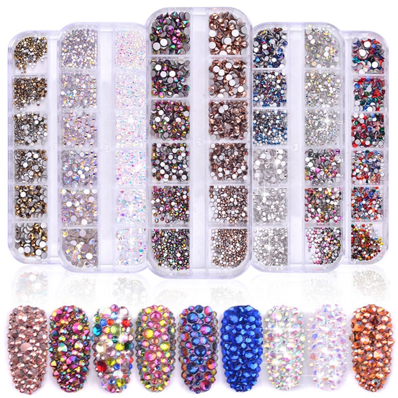 1 Box Multi Size Glass Nail Rhinestones Mixed Colors Flat-back AB Crystal Strass 3D Charm Gems DIY Manicure Nail Art Decorations недорого