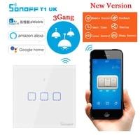 Sonoff T1 3 Gang intelligent WiFi tactile mural RF 86 Type UK interrupteur declairage intelligent Module domotique telecommande commutateur intelligent