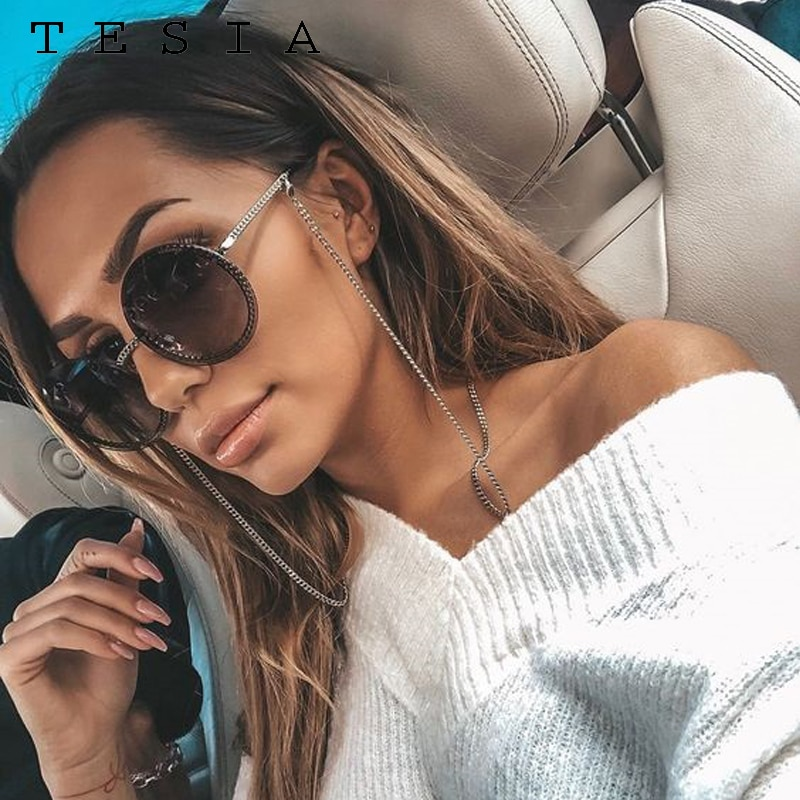 Brand Round Sunglasses Women Luxury Rimless Feamle Shades Europe Popular Ins Sun glasses lunettes de