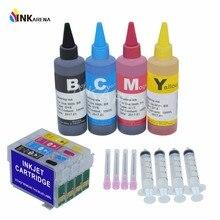 4 kleur Fles Dye Inkt Refill Kits + T0921N Refill Inktpatronen Voor Epson T0921 Printer Stylus C91 CX4300 T26 TX106 TX109 TX117