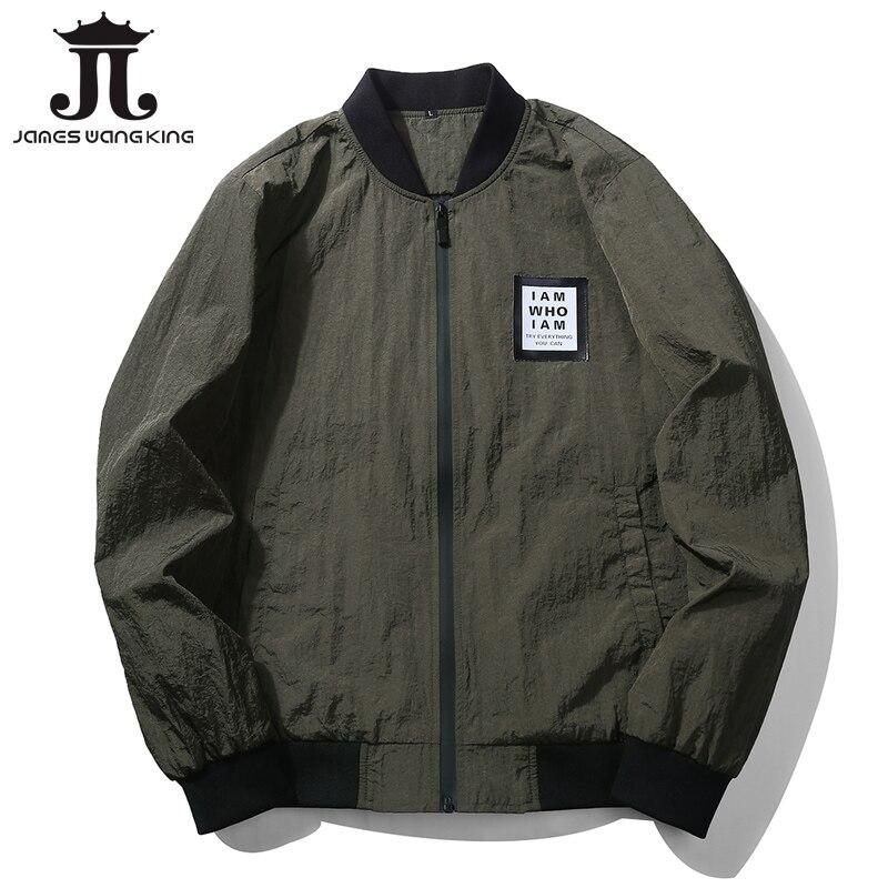 Venta caliente de la manera chaqueta hombres marca collar del soporte sólido chaqueta cremallera protector solar verde sólido chaquetas UE J68