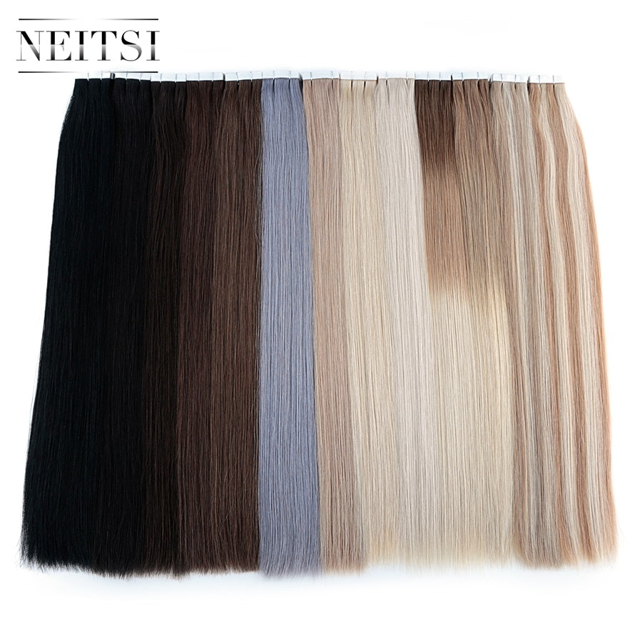 alishow tape in remy human hair extensions double drawn hair straight invisible skin weft pu tape on hair extensions Neitsi Natural Hair Extensions Remy Tape In Human Hair Extensions 16 20 24 Double Drawn Invisible Skin Weft Hair Straight
