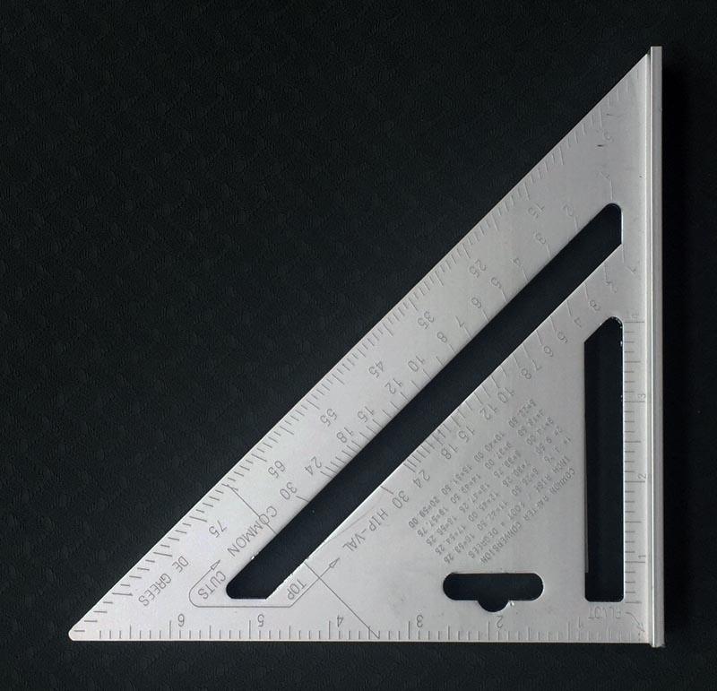 Regla triangular de aleación de aluminio de 7 pulgadas más regla de ángulo de regla triangular de decoración grande de carpintero