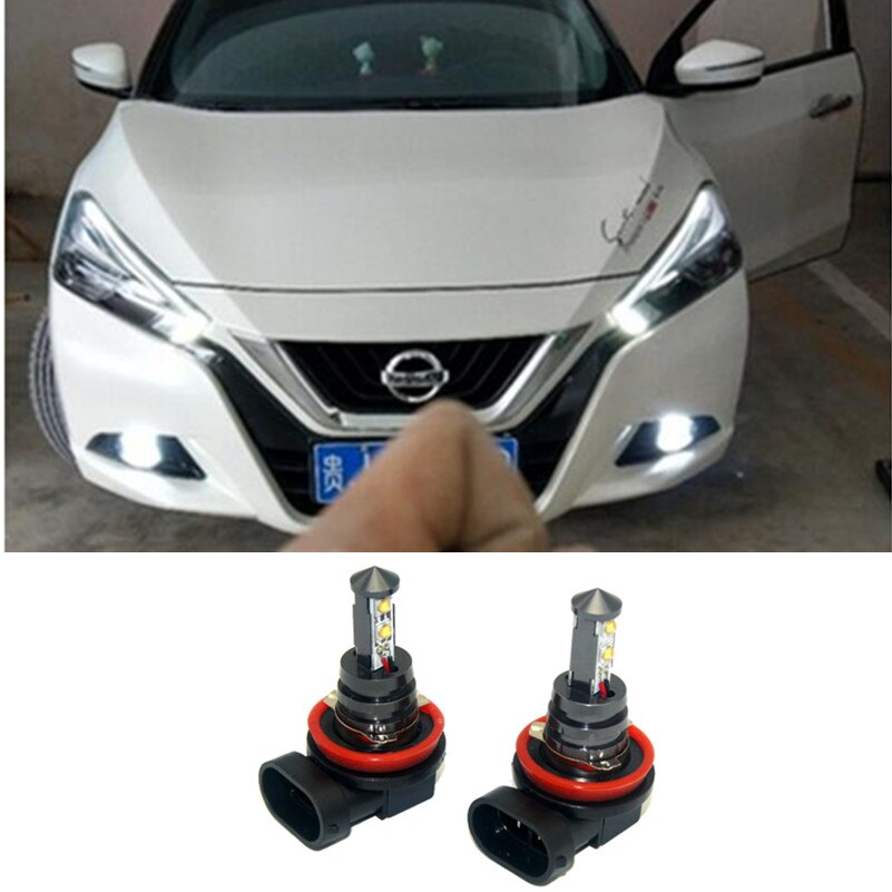 2x h11 h8 carro led drl carro nevoeiro lâmpada dia luzes de condução 6000k branco para nissan qashqai j11 j10 tiida trail pathfinder 05-2010