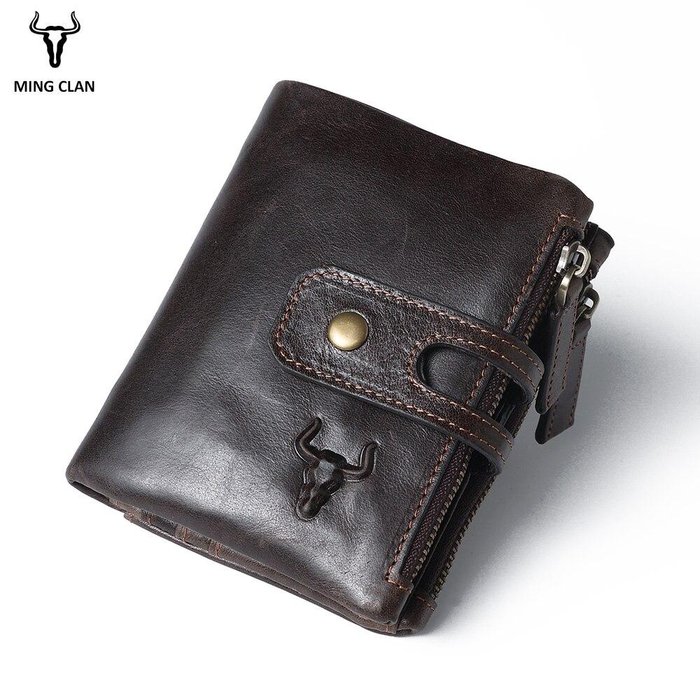 Mingclan 100% Genuine Leather Men Wallet Small Zipper Pocket Men Wallets Portomonee Male Short Coin