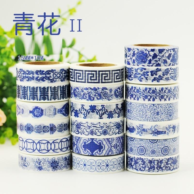 19 Designs NEW Blue & White China Porcelain Pattern Japanese Washi Decorative Adhesive DIY Masking Paper Tape Label Sticker gift