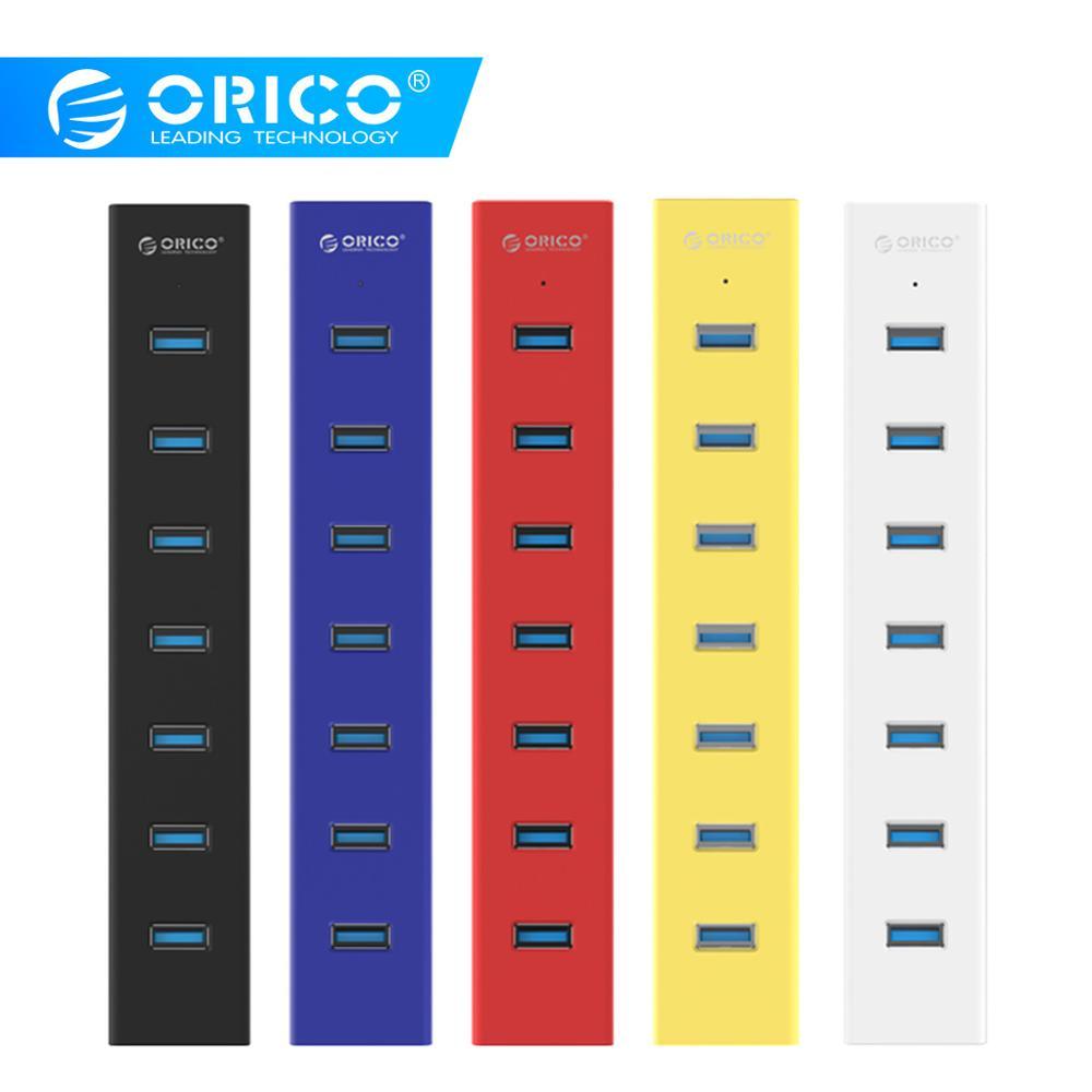Высокоскоростной Концентратор ORICO H7013 с 7 портами USB 3,0, портативный Настольный usb-сплиттер с адаптером питания для планшета, ноутбука, компьютера, ноутбука