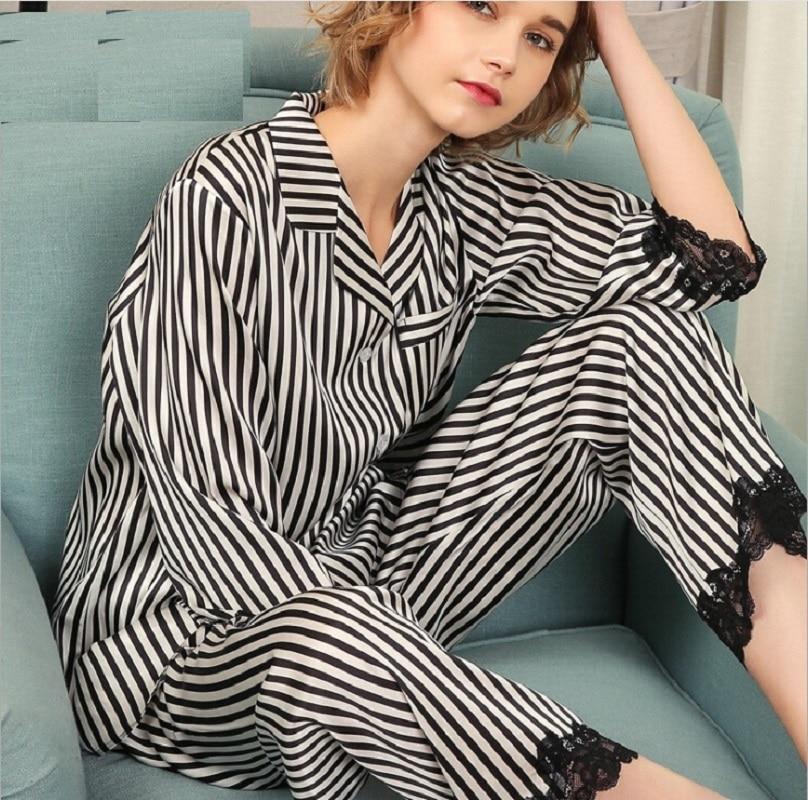 Silk Pajamas Sets Women Black Striped 2019 Woman Summer 100% Silk Stain Home Wear Sexy Lace  Pajama Sets Pant Sleepwear 2XL