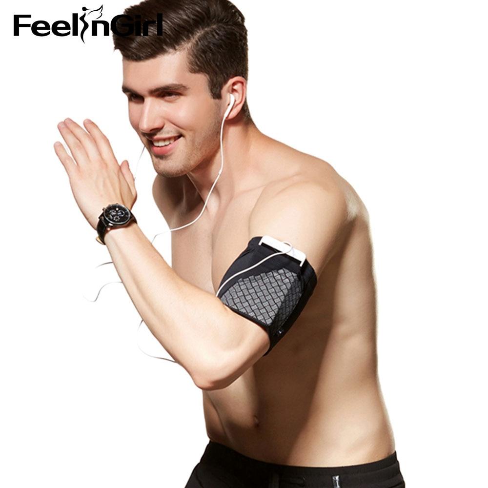 FeelinGirl reflectante deportes adelgazamiento brazo Shaper Running bolso de brazo para teléfono móvil brazo superior brazaletes Body Shapers ropa interior