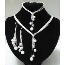 Grande vente bijoux poli prêt Bracelets en forme de y colliers boucles doreilles couleur argent plaqué perles ensembles de bijoux africains