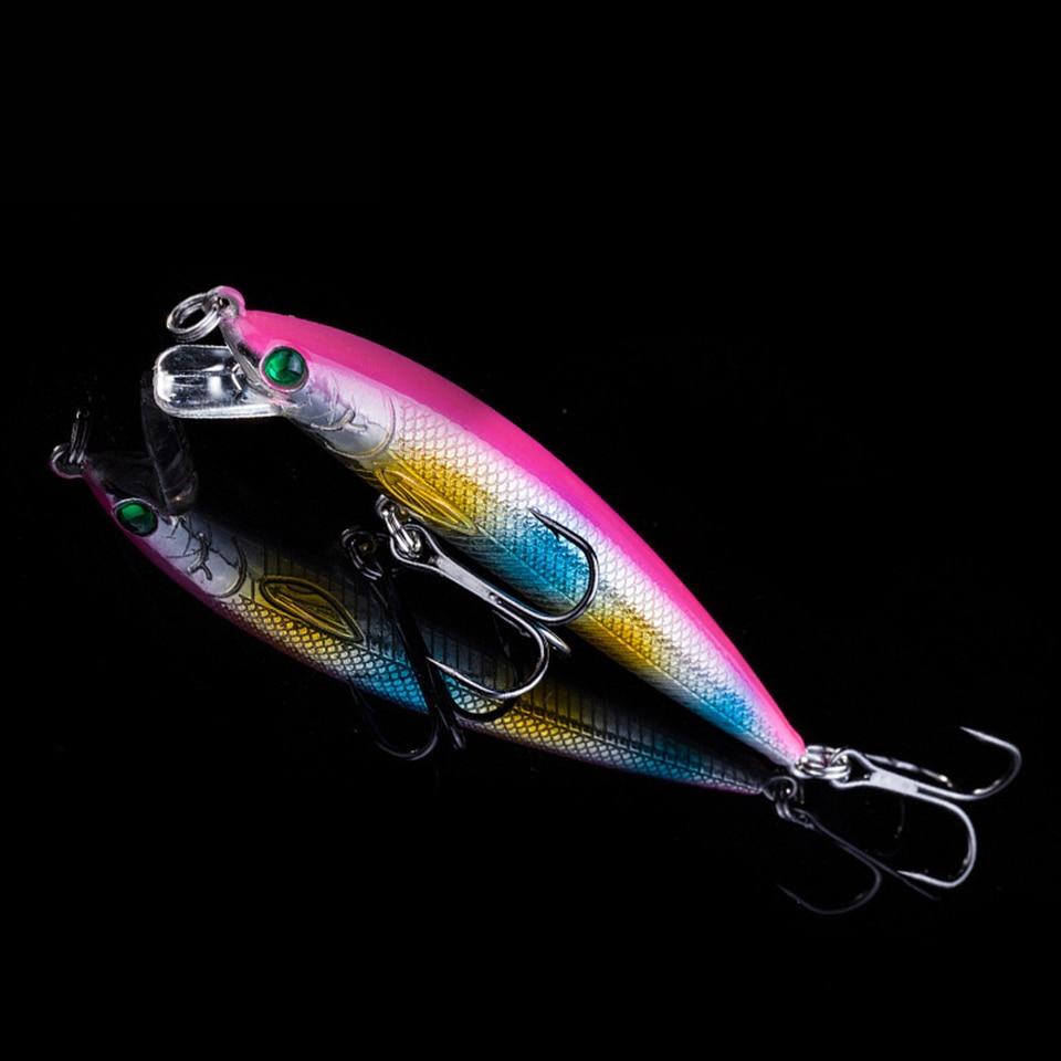 1 pcs colorido teste padrão Da Listra streak 7 cm 5g Hard Bait Minnow iscas de Pesca Baixo de água Doce gancho mergulho poleiro wobbler peixe
