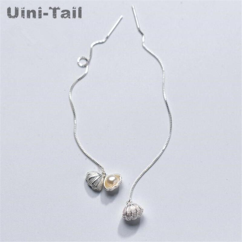 Uini-Tail hot new 925 sterling silver Korean sweet shell earrings long pearl tassel earrings wild temperament simple fresh