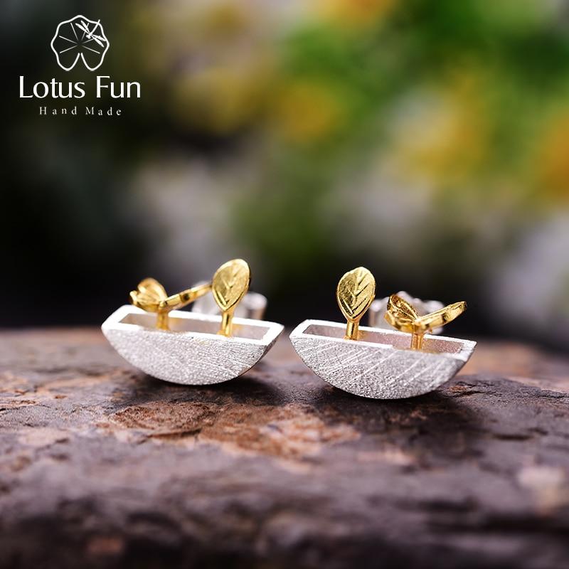 Lotus Fun Plata de Ley 925 auténtica pendientes creativa joyería fina hecha a mano mi pequeño jardín pendientes para el regalo de las mujeres Brincos