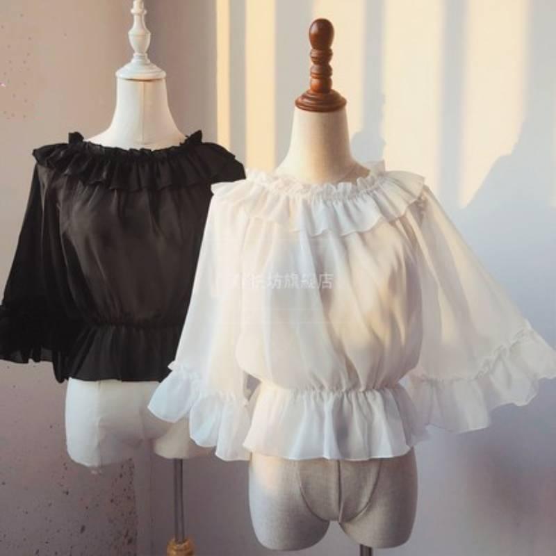 Women Lolita Tops Doll Collar Chiffon Shirts Japanese Lolis Daily Dresses Underwear Soft Sister Top Lolita Shirts Black Thin