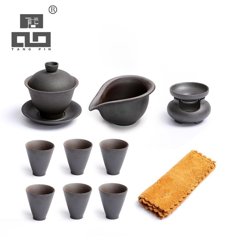 TANGPIN-إبريق شاي ياباني من السيراميك ، gaiwan ، طقم شاي الكونغ فو الصيني