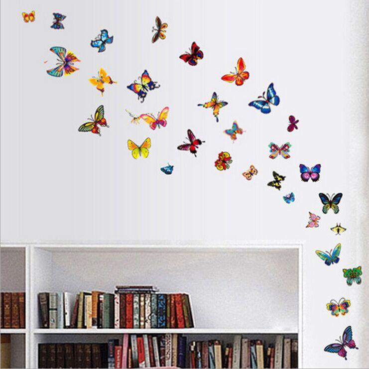 Bonitos adhesivos removibles de mariposa transparentes de 60 colores para pared, pegatinas de PVC DIY, taza para nevera, teléfono, decoración de PC AY1043B