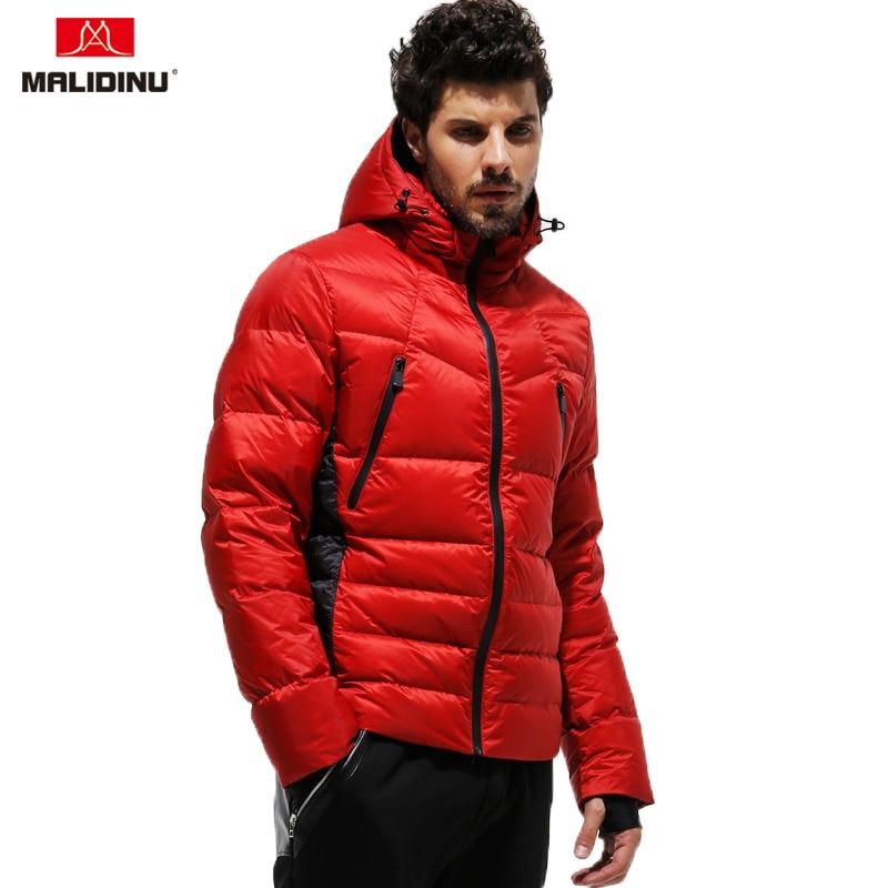 MALIDINU 2020 New Arrival Men Down Jacket Warm Coat 70%White Duck Puffer Parka Detachable Hood Russian Size