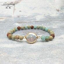 New Bracelet 6MM Natural Stones Gilded pearl Bracelet Unique Beaded Boho Elastic Bracelet Dropshipping Jewelry B155