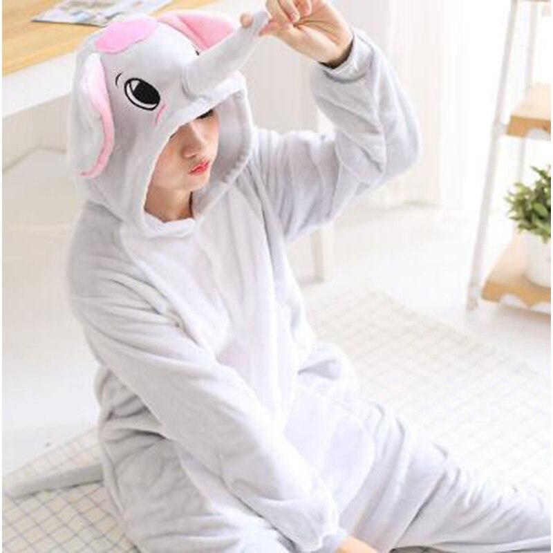 Mono de anime kigurumi para adulto, bonito disfraz de elefante grande azul gris para mujer, ropa de dormir para niñas