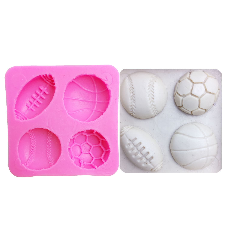 M0149 futebol/basquete/beisebol fondant silicone molde para cozinha chocolate doces argila que faz cupcake bolo ferramentas de decoração