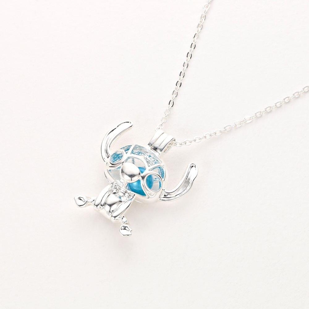 Nueva moda collar gargantilla de cadena larga plateado círculos para mujeres precioso Lilo Stitch joyería collar de mejores amigos para niñas regalo