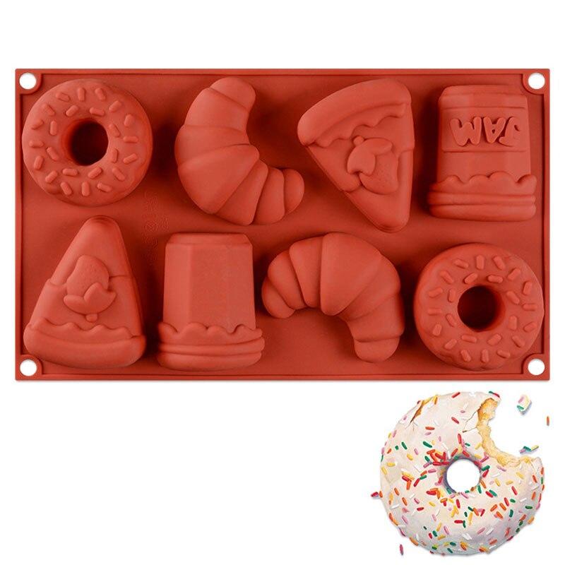 8-Holte 3D Siliconen Cakevorm Candy Bar Donut Fondant Mallen Diy Zeep Vorm Chocolate Cake Decorating Gereedschap