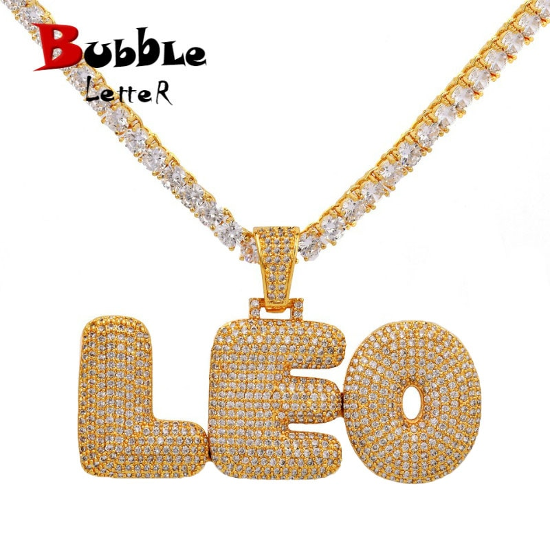 Custom Name Bubble Letters Chain Pendants Necklaces Men's Zircon Hip Hop Jewelry With 4MM Gold Tennis Chain