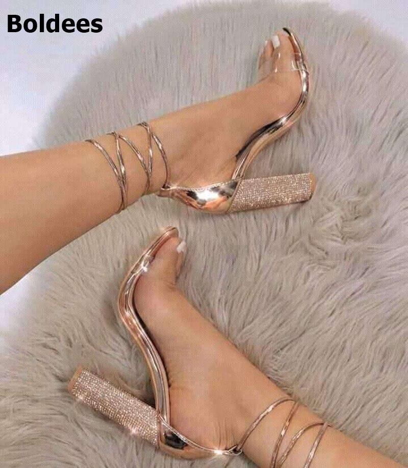 2018 sandalias de mujer, zapatos de tacón alto, Sandalias con tacón grueso, rosa dorada, 11 cm, sandalias con cordones al tobillo, sandalias con punta abierta, talla 43