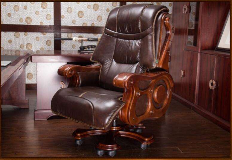 computer chair home office chair chair can be reclined 39 Luxurious solid wood chair office chair computer chair can lie on cowhide massage boss chair.