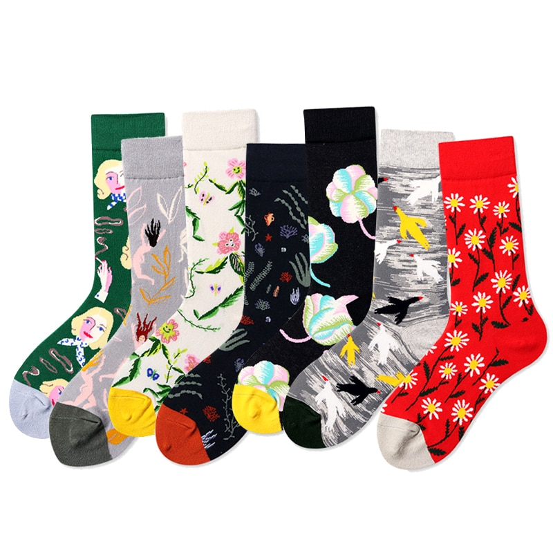 Funny Mens Socks Cotton Novelty Summer High Quality Women Brand Skateboard Happy Socks Hip Hop Crazy Short Skate Thermal Socks