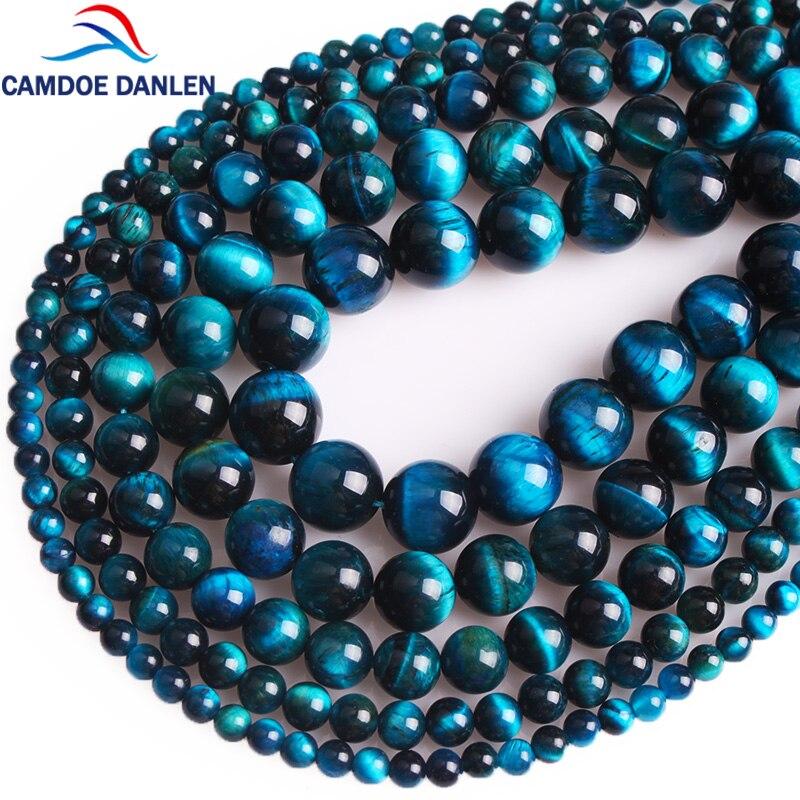 Camdoe danlen natural pedra azul zircão olho de tigre contas redondas 4 6 8 10 12mm diy pulseira colar para fazer jóias por atacado