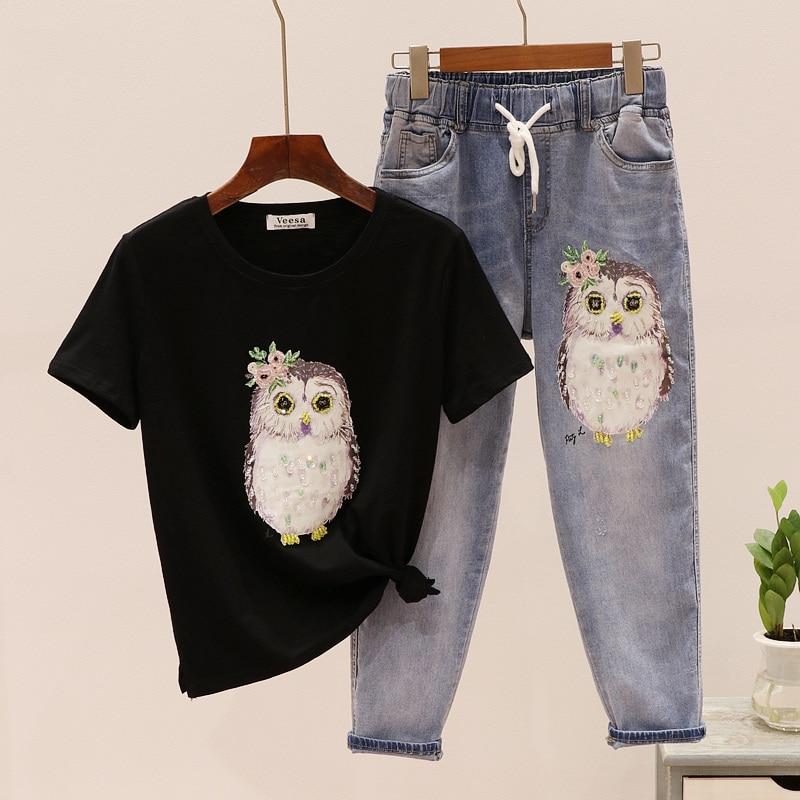 2019 Summer Autumn Fashion Bead Bird Printed T-shirt + Elastic Waist Nine-point Jeans Two-piece Suit Woman Loose Denim Pants Set