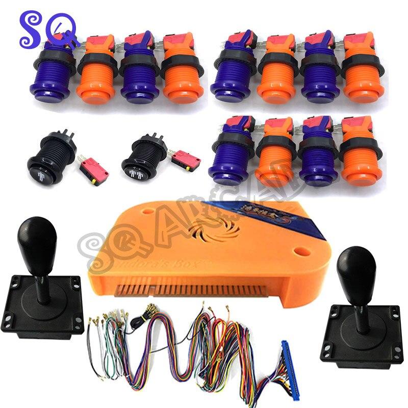 Genuino pandora caja 5S con naranja púrpura cóncavo botones happ joystick/español joysticks arcade kits 50% de descuento