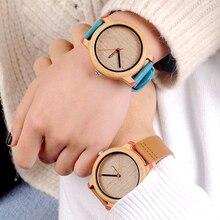 BOBO oiseau bambou montres hommes Quartz montre-bracelet mâle en bois bracelet en cuir Logo personnalisé erkek kol saati