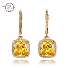 Women's Earrings 925 sterling silver AAAAA Gold Chamfering Gold Earrings Pendant Bride Jewellery Noble Jewelry Party Gift Valent
