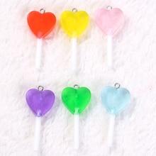 16 pièces/lot 18.5*39mm sucette breloques Transparent coeur forme paillettes résine bonbons accessoires bijoux bricolage