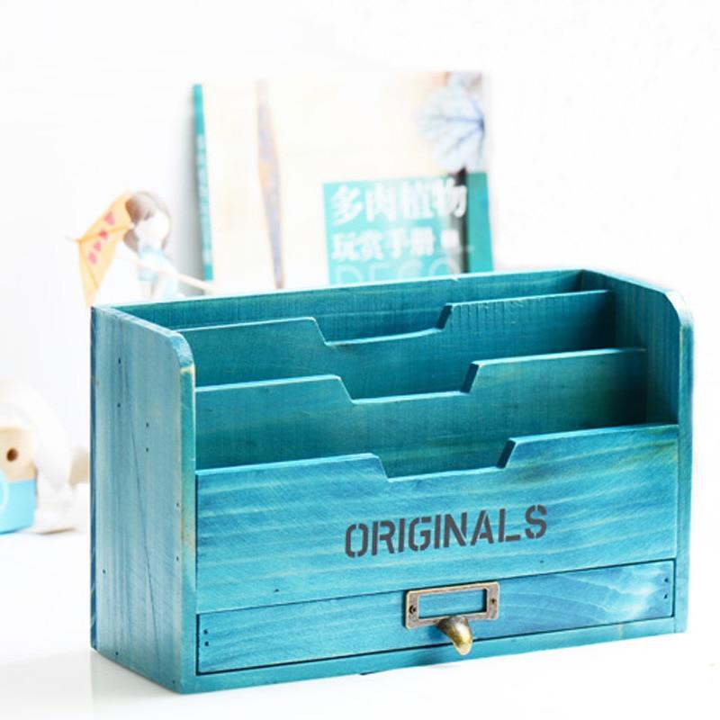 Estante de almacenamiento de madera Vintage, adornos, caja de almacenamiento, artesanías de escritorio, carpeta de almacenamiento de libros, regalos de decoración de sala de estar para el hogar